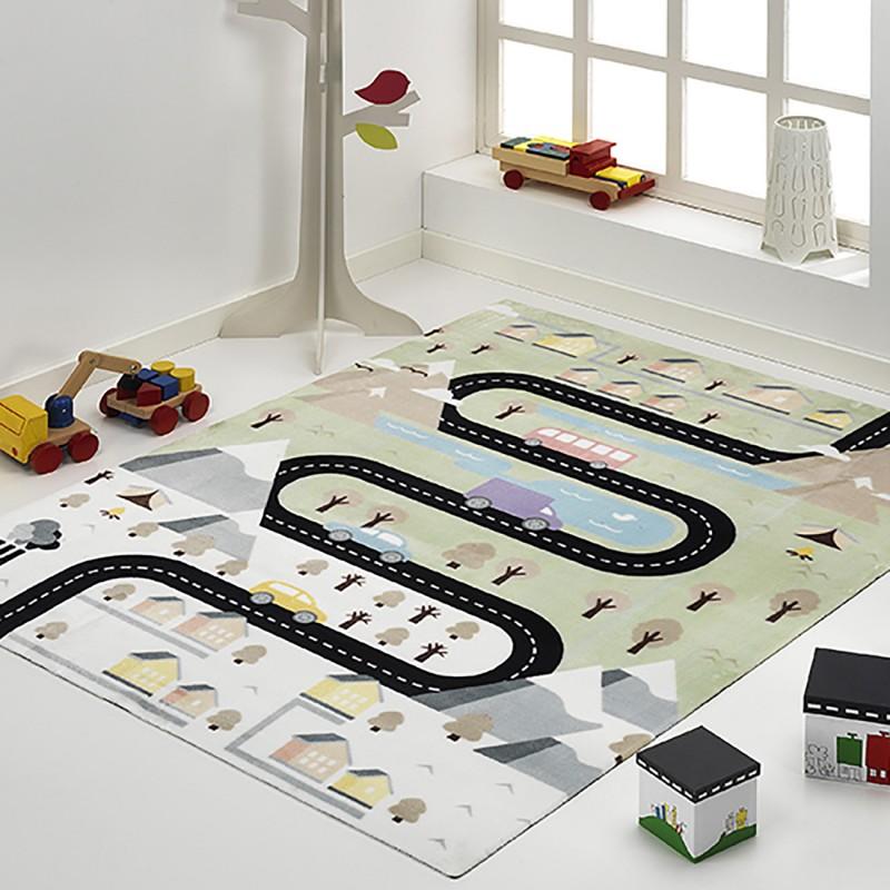 alfombra infantil carretera coches