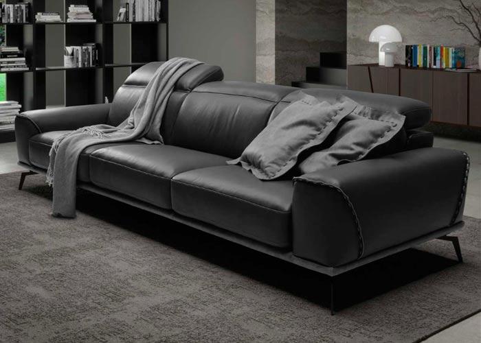 sofas de piel italianos negro