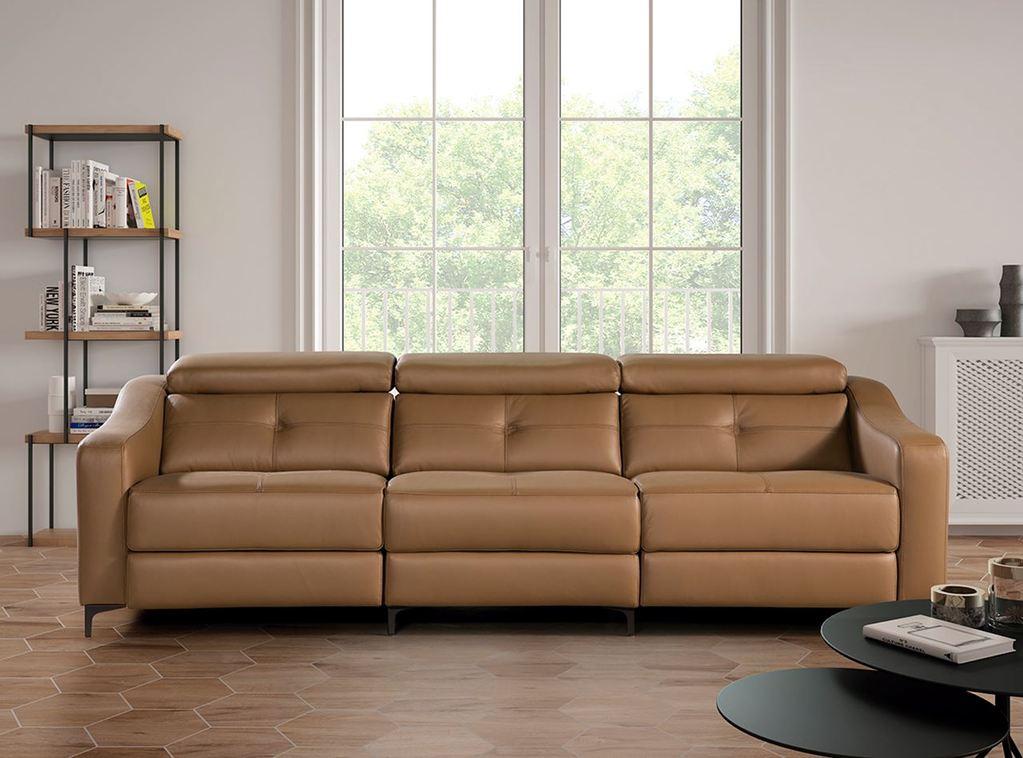 sofa de piel modernos ocre